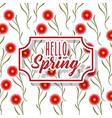 vintage label hello spring greeting card floral vector image