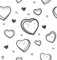 doodle hearts seamless pattern vector image vector image