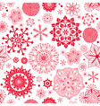 Winter seamless pattern with red snowflakes vector image