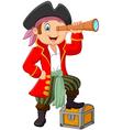Cartoon pirate looking through binoculars vector image