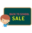 Cute cartoon boy staying near classroom vector image
