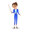 cartoon woman teacher with a pointer vector image