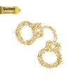 Gold glitter icon of handcuffs isolated on vector image