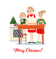 mother bakes traditional christmas cookies vector image