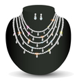 Necklace and earrings with white precious stones vector image