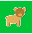 paper sticker on stylish background cartoon bear vector image