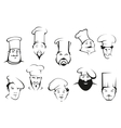 Portraits of chefs or cooks in cartoon sketch vector image