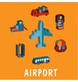 Set of colored volume airport icons vector image