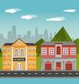 building school home facade with mountains city vector image