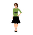 young teacher lady in green dress vector image