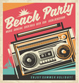 Beach party retro poster vector image