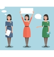 Standing Office Manager Woman Talking and Showing vector image vector image
