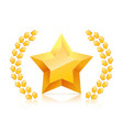 3d golden yellow star laurel wreaths branch vector image
