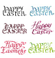 collection calligraphy inscription happy easter vector image