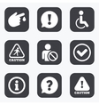 Caution and attention icons Information signs vector image