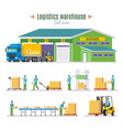 logistic warehouse elements collection vector image