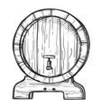 Round wooden barrel freehand pencil drawing vector image