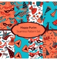 Seamless pattern set for Jewish holiday Purim vector image