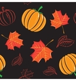 Seamless pattern with pumpkins and leaves vector image