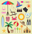 set of beach icons vector image