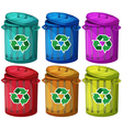 Six trashcans for recyclable garbages vector image