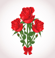 Three roses with bow for design wedding card vector image