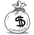 doodle money bag vector image vector image
