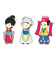 Cute girls in traditional clothing vector image