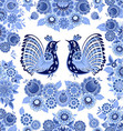 old seamless texture with blue stylized floral vector image vector image