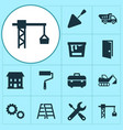 building icons set collection of spatula lifting vector image