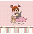 sweet little girl reading a book vector image