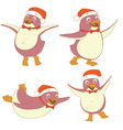 Funny set of penguin character wearing red Santa vector image