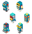 Isometric robots toy vector image