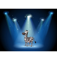 A zebra at the stage with spotlights vector image