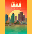 evening miami poster vector image