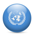 Round glossy icon of united nations vector image
