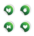 sticker of plant and heart in green vector image