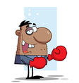 African American Businessman Wears Boxing Gloves vector image