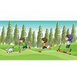 Children running with a dog vector image