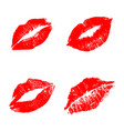 red lips set vector image