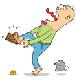 Man caught in Mouse trap cartoon vector image