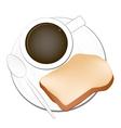 Hot Coffee with Cut Loaf of Bread vector image vector image