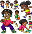 African American kids doing different things vector image