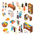 atelier studio isometric icons set vector image