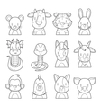 Twelve Animals Chinese Zodiac Signs Outline Set vector image