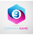Number nine logo symbol in the colorful hexagonal vector image