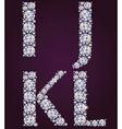 Alphabet of diamonds IJKL vector image vector image