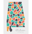 Alabama county map abstract round shapes vector image