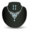 necklace and earrings with blue jewels vector image vector image
