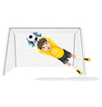 A boy practicing to catch the soccer ball vector image